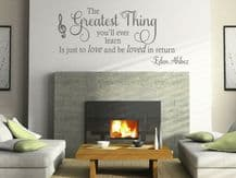 """Wall Quote """"Love and Be Loved..."""" Lyrics Love Song Sticker Decal Decor Transfer"""